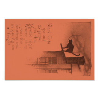 Black Cat On Roof Full Moon Poster