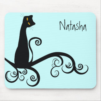 Black Cat On Swirly Branch Mouse Pad