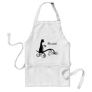 Black Cat On Swirly Branch Personalized Adult Apron