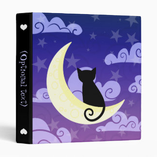 Black cat on the moon in starry night sky 3 ring binder