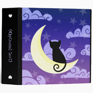 Black cat on the moon in starry night sky large 3 ring binder