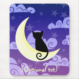 Black cat on the moon in starry night sky mouse pad