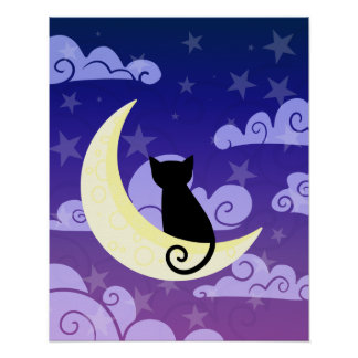 Black cat on the moon in starry night sky poster