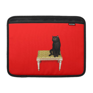 Black cat on the stool sleeve for MacBook air