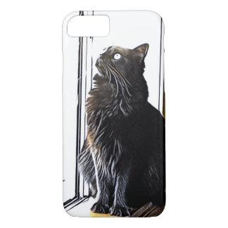 Black Cat on Windowsill iPhone 8/7 Case