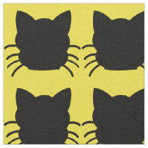 Black Cat on Yellow Background Fabric