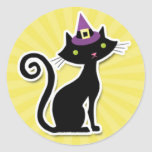 Black cat On Yellow Round Sticker