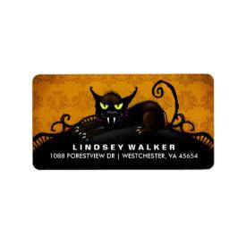 Black Cat Orange & Black Halloween Address Label