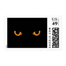 Black Cat Orange Eyes Halloween Postage Stamp