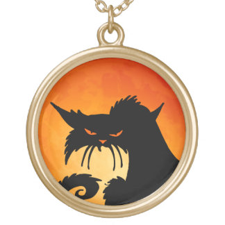 Black Cat Orange Moon Gold Plated Necklace