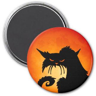 Black Cat Orange Moon Magnet