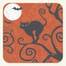 black cat orange square sticker