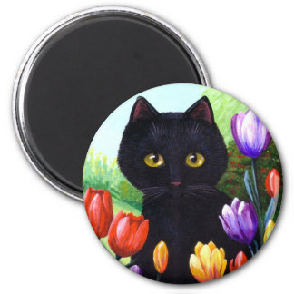 Black Cat Original Art Flowers Spring Creationarts Magnet