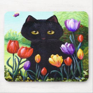 Black Cat Original Art Tulips Flowers Creationarts Mouse Pad