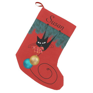 Black Cat & Ornaments Personalized Stocking