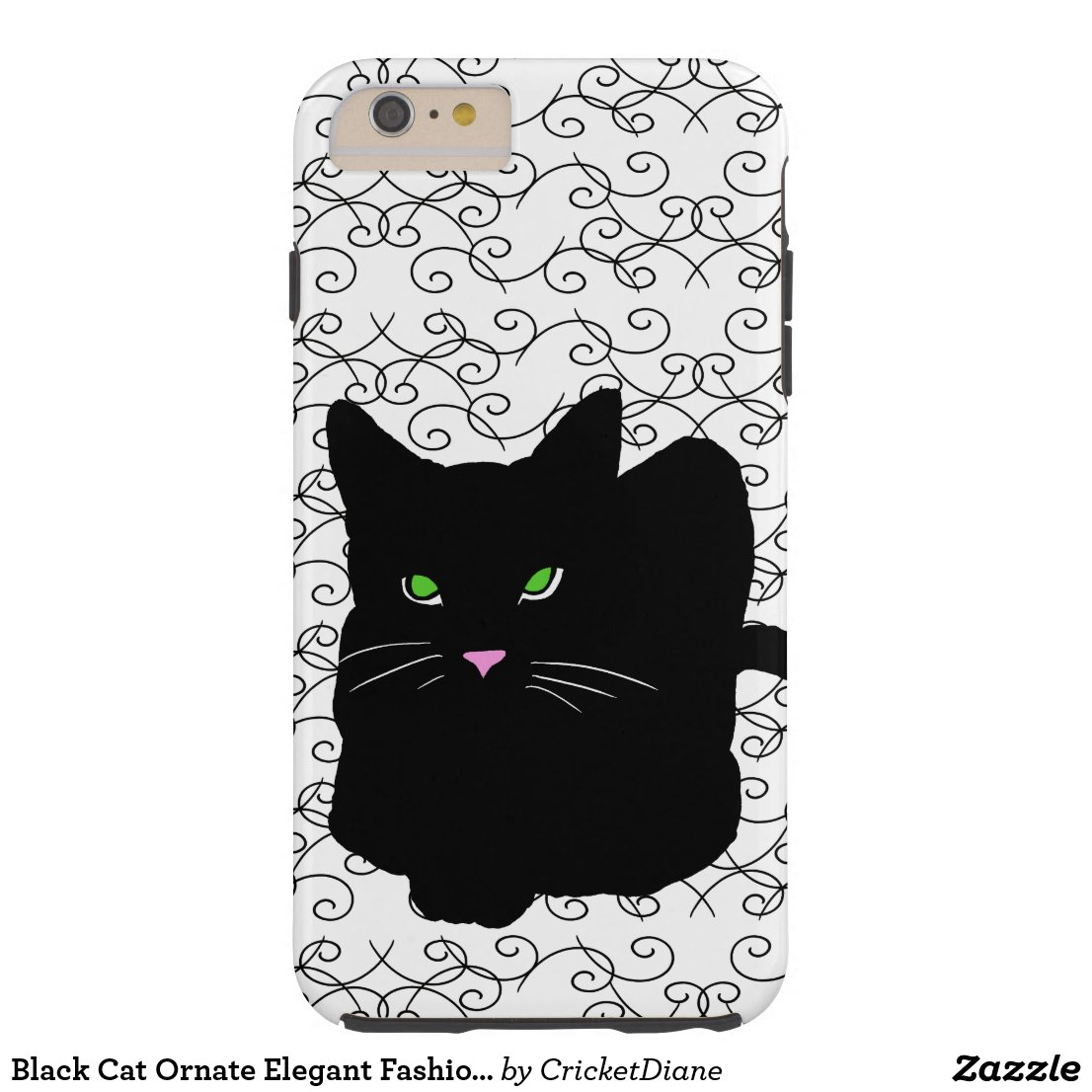 Black Cat Ornate Elegant Fashion CricketDiane Tough iPhone 6 Plus Case