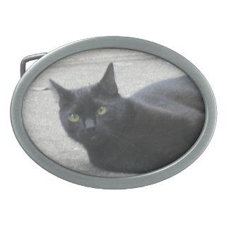 Black  Cat Oval Belt Buckle