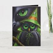BLACK CAT & OWL - HALLOWEEN Card card
