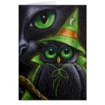 BLACK CAT & OWL - HALLOWEEN Card
