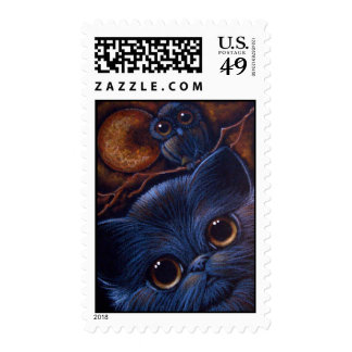 BLACK CAT & OWL HALLOWEEN Postage