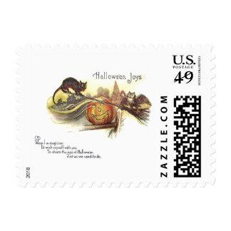 Black Cat Owl Jack O' Lantern Witch's Broom Postage