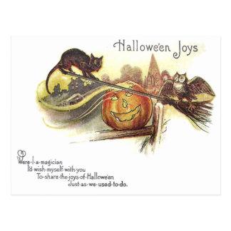 Black Cat Owl Jack O' Lantern Witch's Broom Postcard