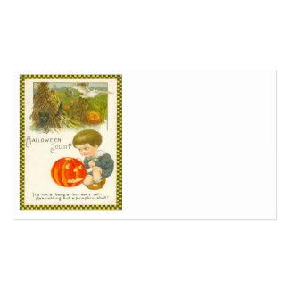 Black Cat Owl Pumpkin Jack O Lantern Cute Boy Business Card