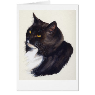 Black Cat Painted in Watercolour Card