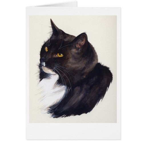 Black Cat Painted in Watercolour Greeting Card