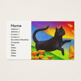Black Cat Painting Butterflies Art - Multi Business Card