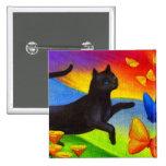 Black Cat Painting Butterflies Art - Multi Pinback Buttons
