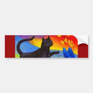 Black Cat Painting Butterflies Art - Multi Car Bumper Sticker