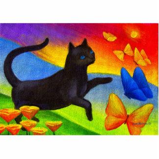 Black Cat Painting Butterflies Art - Multi Cutout