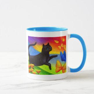Black Cat Painting Butterflies Art - Multi Mug