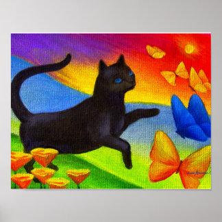 Black Cat Painting Butterflies Art - Multi Poster