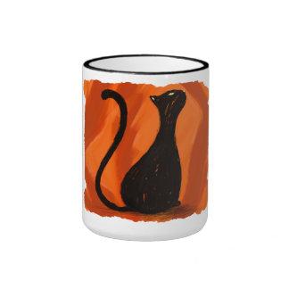 Black cat painting, mug