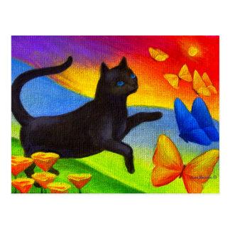 Black Cat Painting On Postcards Feline Butterflies