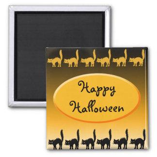 Black Cat Parade Halloween Design 2 Inch Square Magnet
