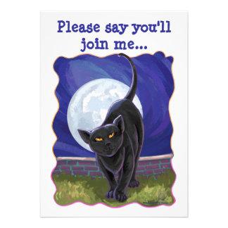 Black Cat Party Center Invite