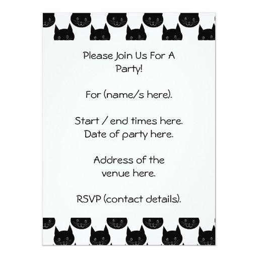 Black Cat Pattern. 6.5x8.75 Paper Invitation Card
