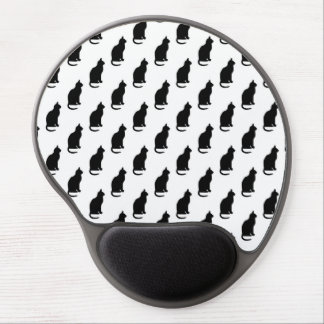Black Cat Pattern Cats Texture White Background Gel Mouse Pad