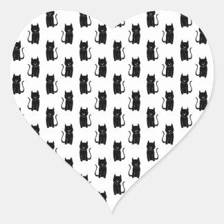 Black cat pattern. heart sticker