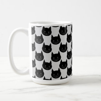 Black Cat Pattern on Light Gray. Classic White Coffee Mug