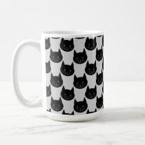 Black Cat Pattern on Light Gray. Coffee Mug