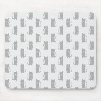 Black Cat Pattern on Light Gray. Mouse Pad