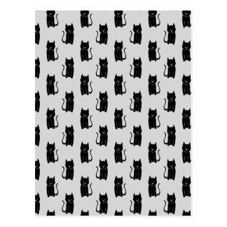 Black Cat Pattern on Light Gray. Postcard