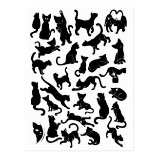 Black Cat Pattern Postcard