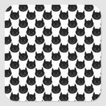 Black Cat Pattern. Square Sticker