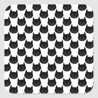 Black Cat Pattern. Square Sticker