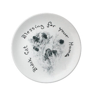 Black Cat Paw Print Home Blessing Decorative Plate